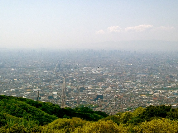 The view of Osaka from the top of Ikoma mountain